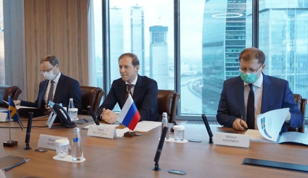 Denis Manturov träffade Sveriges ambassadör Malena Mård